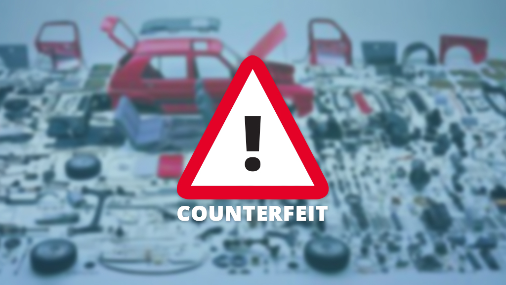 Stop sign with counterfeit automotive parts